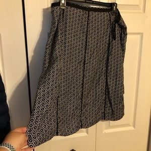 Style and Co black and white a-line silk skirt